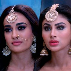 Shraavni's fate isn't sealed, yet! Will the new queen of Naaglok successfully protect the Naagmani? Find out by watching the finale of… Beautiful Bollywood Actress, Most Beautiful Indian Actress, Indian Dresses, Indian Outfits, Teal Eye Makeup, South Indian Bride, Stylish Girl Pic, Indian Celebrities, Minimalist Jewelry