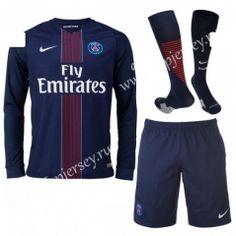 2016/17 Paris SG Home Blue LS Thailand Soccer Uniform With Socks
