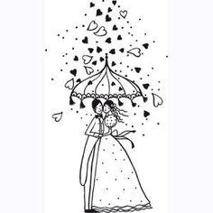 Aladine - Tampon bois - Mariage pluvieux - 6,9 x 4,1 cm 11,44€