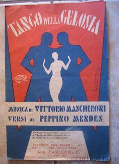 """° Spartito Musicale 1931 """"Tango della Gelosia"""" Ed. Carisch Milano, Dis. Bonfanti"""