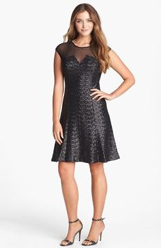 Calvin Klein Sequin Fit & Flare Dress available at Black Sequin Dress, Black Sequins, Beautiful Dresses, Nice Dresses, Awesome Dresses, Fit Flare Dress, Flare Skirt, Knee Length Cocktail Dress, New Years Dress