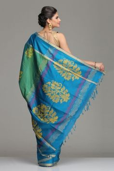 Sea Green & Turquoise Blue Uppada Silk Saree With Gold Zari Striped Border & Yellow & Pink Floral Motifs