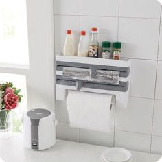 Kitchen Towel Paper Holder Wall Mounted Space Save Roll Rack Bottle Storage