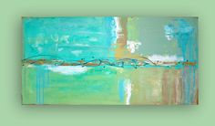 This original painting is on reserve for a client. Highly textured with beautiful shades of aqua, turquoise,greens, white, and taupe. Please contact me if interested in a similar painting in a different size. Title: Beach Glass 4 Dimensions: 24x48x1.5 Dominent Colors: Aqua, pale green, taupe, white Medium: Mixed media with acrylics on plastered canvas with paper overlays Will be signed and sealed with a protective acrylic finish. Can be displayed in any direction. Thank you ...