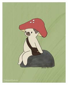Mushroom Hat - Pug Art Print by Claire Chambers - ChickenpantsStudio.com Mushroom Hat, Pug Illustration, Pug Art, Clear Bags, Paper Design, Make You Smile, Pugs, Original Paintings, Stuffed Mushrooms