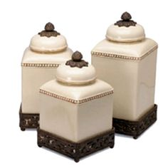 This set of three ceramic canisters from the GG Collection are designed for Tuscan and French Country kitchens. Offering a selection in size with warm and inviting colors each canister set brings aut...