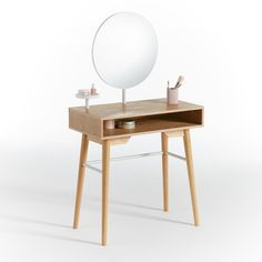 Agura Dressing Table with Mirror LA REDOUTE INTERIEURS .The most stylish way to get yourself ready and raring to go.A retro-inspired dressing table made modern by its crisp lines and sleek finishes. Home Furnishing Accessories, Home Furnishings, 1 Drawer Dressing Table, Dressing Mirror, Wall Mounted Bedside Table, Contemporary Dressing Tables, Retro Stil, Dresser With Mirror, Wood And Metal