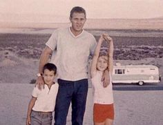 steve with his kids chad and terry. he really loved his two babies