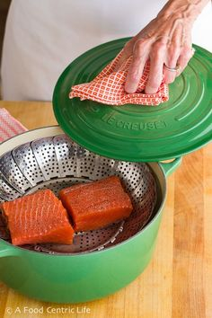 How to steam salmon. It's quick, healthy, easy and takes all of 5-6 minutes to cook. Add your sauce of choice. Link to recipes included. Try it tonight.