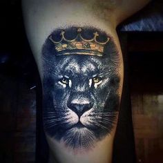 Guys Upper Arms Interesting Tattoo Of Crowned Lion