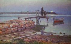 Elin Danielson-Gambogi (Fin, - Bryggan vid Tomtebo (Imbarcadero a Tomtebo) - 1901 Female Painters, Living In Italy, Famous Words, Sea Art, Art Database, Oil Painting Reproductions, Baltic Sea, Summer Nights, Art Music
