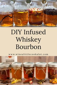 DIY Infused Whiskey Bourbon – Wine a Little, Cook a Lot DIY infused whiskey bourbon makes an easy homemade gift. Try flavors like coffee whiskey, apple cinnamon, or orange pecan whiskey. Flavored Alcohol, Homemade Alcohol, Homemade Liquor, Alcohol Drink Recipes, Easy Homemade Gifts, Homemade Whiskey, Bourbon Whiskey, Whiskey Gifts, Bourbon Cocktails