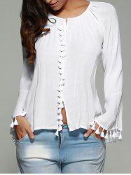 are sleeve tassel cuff blouse Cheap Blouses, Shirt Blouses, Blouses For Women, Elisa Cavaletti, Sewing Blouses, Crochet Blouse, Blouse Online, Vintage Skirt, Types Of Sleeves