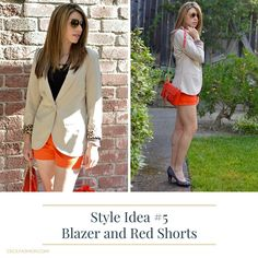 5 Ways to Wear Red Shorts | Tan blaze, red shorts outfit, pumps, heels, red bag, weddings | Cecil Fashion