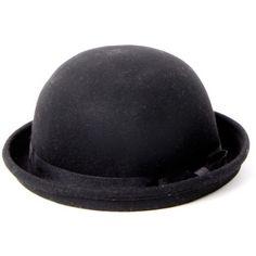 Larissa Bow Detail Black Bowler Hat featuring polyvore women's fashion accessories hats headwear derby hats bow hat bowler hat