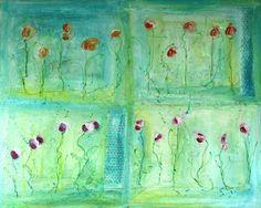 Acryl auf Leinwand Flowers 100 x 80 cm, gemalt auf einem ca. 4cm dicken Keilrahmen. Mischtechnik aus Acryl, Kreide und Collagematerial. Die