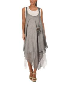 This Gray & White Linen Handkerchief Dress by Etienne Marcel is perfect! #zulilyfinds