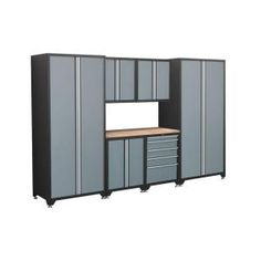 NewAge Products Pro Series 10 ft. 8 in. Wide 7-Piece Welded Steel Grey Cabinet Set