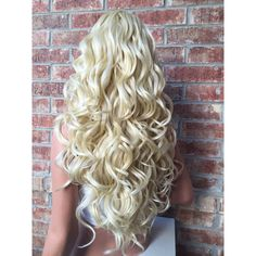 """Farrah Light Blonde Curl Wavy Human Hair Blend Lace Front Wig 26"""" ($145) ❤ liked on Polyvore featuring beauty products, haircare and hair styling tools"""