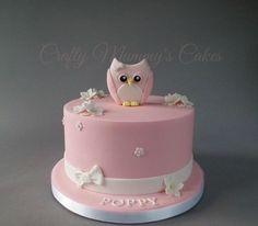 Little Owl - Cake by CraftyMummysCakes (Tracy-Anne) Ladybug Cakes, Owl Cakes, Bird Cakes, Toddler Birthday Cakes, Owl Cake Birthday, Bird Cage Cake, Christening Cake Girls, Baby Girl Cakes, Cupcakes