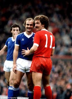 A 1980 design display dual fanciful players of that time, and one noble perm from Graeme Souness, a Liverpool star seen  carrying a fun with Ipswich's Mick Mills