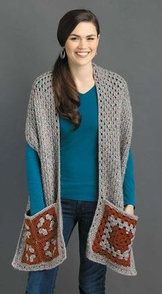 Featuring pockets and sometimes a hood, the designs in Pocket Shawls by Karen Whooley are true comfort fashions! They are great for staying cozy at home or when on the go and for keeping your cell phone and other small items handy. Each is sized for adult Love Crochet, Crochet Granny, Easy Crochet, Knit Crochet, Double Crochet, Crochet Shawls And Wraps, Crochet Scarves, Crochet Clothes, Crochet Phone Cases
