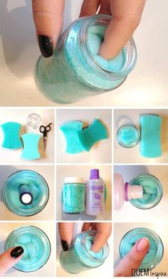 Super easy nail polish remover jar! GENIUS! . Take a cheap sponge and cut it so that it fits snug in a small jar with a lid. Fill about 1/4 with nail polish...twist fingers one at a time in the center of the sponge. Its great!