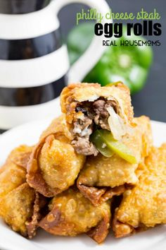PHILLY CHEESE STEAK EGG ROLLS take a traditional Philly cheese steak, put it in an egg roll wrapper, and get fried up to a perfect golden brown. Crunchy outside, gooey, cheese-y, meat, pepper, and onion inside. This is the perfect appetizer!