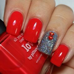 Red with sliver beads