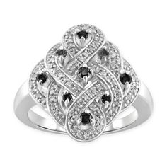 The cttw Black and White Diamond Open Weave Ladies' Ring is elegant and classy. In sterling silver, the ring boasts a stunning open weave detail traced in shimmering white diamonds and accented with bold black diamonds for an extra shimmer. Celtic Knot Ring, Open Weave, Black Diamond, Heart Ring, Bath, Jewels, Engagement Rings, Black And White, Sterling Silver