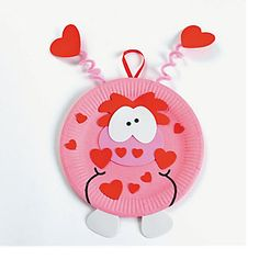 valentine's crafts for kids preschool party | Paper Plate Valentine Monster Craft Kit - Oriental Trading