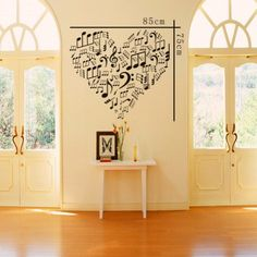 "23.6"" X 33.4"" Heart Contain Lots of Musical Note Wall Decor Wall Art Decal Sticker Decor Music Notes Mural DIY Vinyl Lettering Saying Décor Room Home coavas,http://smile.amazon.com/dp/B00EVO84HM/ref=cm_sw_r_pi_dp_T1kCtb1SYARDXKMG"