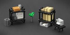 Office furniture made of LEGO pieces by Jonas Kramm for New Elementary blog