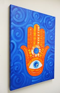 Magical Hamsa Hand Painting by Laelanie Larach | Abstract Art in Miami Best Abstract Paintings, Abstract Art For Sale, Cool Paintings, Art For Sale Online, Online Art, Modern Art For Sale, Miami, Eye Painting, Nautical Art