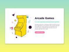 Arcade Games, 80's, retrowave, landing page.  https://dribbble.com/shots/3528062-Arcade-Games-UI  Vincenzo Insinna