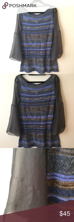 Free People Knit Bell Sleeve Tunic Shirt Dress Cute FP sweater top and has sheer bell sleeves and. A slight pull in the side Sleeve as photoed! Free People Tops