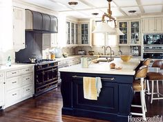 Midnight blue kitchen island. Design: Nancy Boszhardt. housebeautiful.com. #kitchen_island #midnight_blue #kitchen
