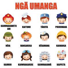Ngā Umanga - Occupations Teaching Aids, Teaching Resources, Preschool Games, Preschool Ideas, Activities, Waitangi Day, Maori Words, Maori Art, Kiwiana