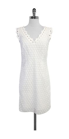 Lilly Pulitzer White Floral Eyelet Cotton Dress