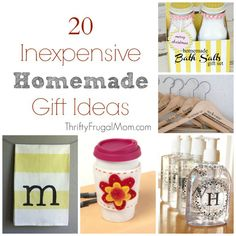 20 Inexpensive Homemade Gift Ideas-- a great collection of homemade gift ideas that are not only inexpensive but also relatively simple and easy to make! Perfect for Christmas or any occasion! #inexpensivehomemadegift