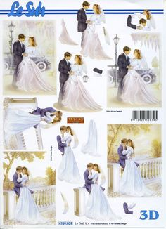 Le Suh Cut out sheet wedding/marriage nr 4169839 - Knutselparade Wedding Topper, Wedding Bride, Wedding Anniversary Cards, Wedding Cards, Free Printable Christmas Cards, Communion, Romantic Themes, Image Collage, Image 3d