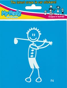 Autosticker van vader / man die aan het golfen is. Prijs € 2,49 Vader, Car Stickers, Sticker Design, Man, Snoopy, Bumper Stickers For Cars, Car Decals