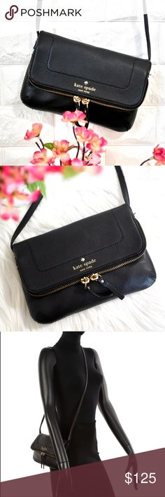 """💖Kate Spade Mariana Mansfield LIKE NEW. • No stains rips or tears. Carried twice, basically new. • Exterior recently cleaned with leather cleaner. • PRICE FIRM. No trades   DETAILS: Color: Black Material: Smooth Leather  Dimension: 8.5W x 5H Strap length: 21"""" kate spade Bags Crossbody Bags"""