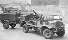 British Army truck with BOFOS Anti-Aircraft Gun and trailer. Probably ammunition carrier. Welding Trailer, Parachute Regiment, Ww2 Photos, Army Vehicles, Military Weapons, British Army, Old Trucks, World War, Monster Trucks