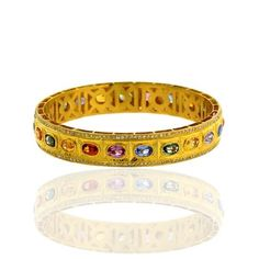 Multi Sapphire 18 K Solid Yellow Gold Bangle Pave Diamond Ethnic Style Jewelry #Unbranded
