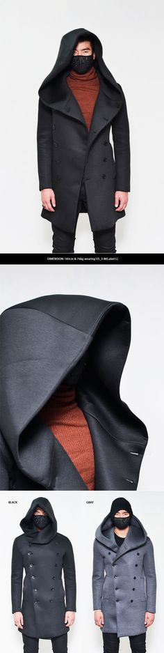 Outerwear :: Super Big Hood Double Neoprene Coat-Coat 63 - Mens Fashion Clothing…