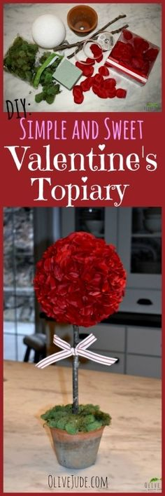 DIY: Simple and Sweet Valentine& Topiary Valentines Day Food, Valentines For Kids, Valentine Day Crafts, Easter Crafts, Holiday Crafts, Holiday Ideas, Valentine's Day Quotes, Crafts To Make, Home Crafts
