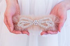 Rhinestone Wedding Garter Belt Soft Blue by TheLittleWhiteDress
