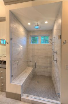 Bathroom #Shower #Design. Weathered plank tile with penny tiles on floor.