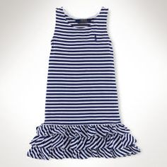 Striped Ruffled Cotton Dress - Girls 2-6X Dresses & Skirts - RalphLauren.com